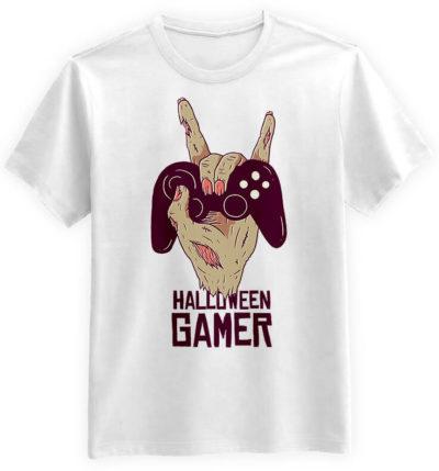 Halloween-Gamer-biala-koszulka