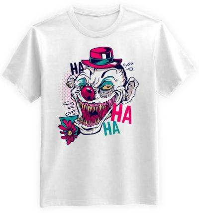 Straszny-Clown-biala-meska-koszulka