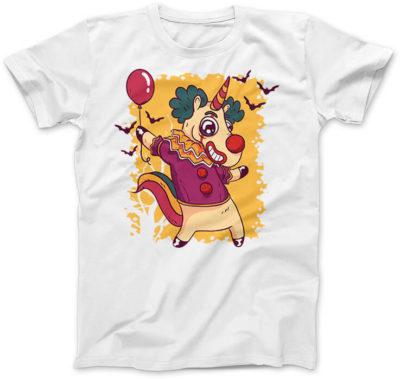 Unicorn-Clown-biala-koszulka