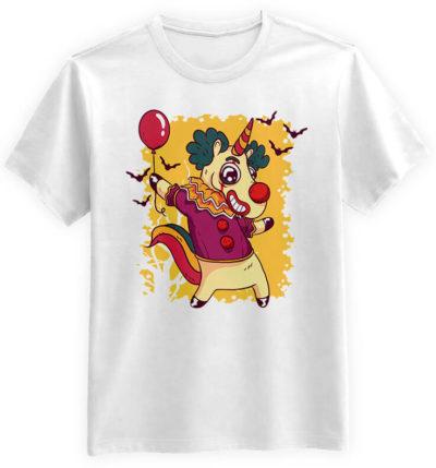 Unicorn-Clown-biala-koszulka-meska